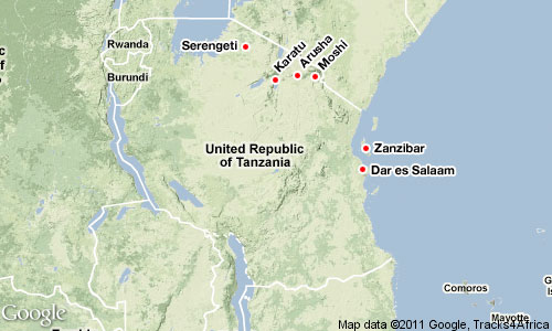 Art in Tanzania locations map